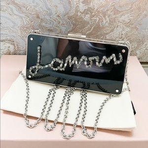 Lanvin Mini Crystal Embellished Metal Box Clutch